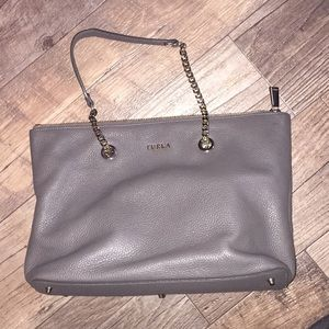 Furla leather tote chain purse